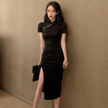 cheongsam Summer 2021 S,M,L black Short sleeve long cheongsam Retro High slit daily Round lapel Solid color 18-25 years old Piping cotton 51% (inclusive) - 70% (inclusive)