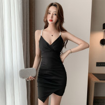 Dress Summer 2021 Black, light jujube S,M,L,XL Short skirt singleton  Sleeveless commute V-neck middle-waisted Solid color Socket Irregular skirt other camisole 18-24 years old Type X Simplicity Open back, stitching 81% (inclusive) - 90% (inclusive) brocade polyester fiber