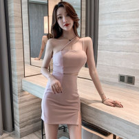 Dress Summer 2021 White, pink, black S,M,L,XL Short skirt singleton  Sleeveless commute One word collar High waist Solid color Socket One pace skirt Oblique shoulder 18-24 years old Type X Korean version Hollowed out, stitched 71% (inclusive) - 80% (inclusive) brocade cotton
