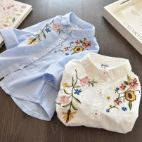 shirt White, blue Other / other female 7(100cm),9(110cm),11(120cm),13(130cm),15(140cm) spring and autumn Long sleeves Korean version other other