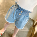 trousers Other / other female 7,9,11,13,15 cowboy summer shorts Korean version Jeans Leather belt middle-waisted other Don't open the crotch Denim shorts 2 years old, 3 years old, 4 years old, 5 years old, 6 years old