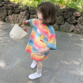 Dress Rainbow color female Other / other 7(90cm),9(100cm),11(110cm),13(120cm),15(130cm) Other 100% summer Korean version Short sleeve stripe other other