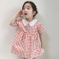 Dress red-checkered pattern female Other / other 7(90cm),9(100cm),11(110cm),13(120cm),15(130cm) Other 100% summer princess Short sleeve lattice other other 2 years old, 3 years old, 4 years old, 5 years old, 6 years old