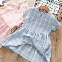 Dress Blue, pink female Other / other 7(100cm),9(110cm),11(120cm),13(130cm),15(140cm) Other 100% spring and autumn Korean version lattice other other 2 years old, 3 years old, 4 years old, 5 years old, 6 years old
