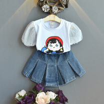 suit Other / other Graph color 7(90cm),9(100cm),11(110cm),13(120cm),15(130cm) female summer Korean version Short sleeve + pants 2 pieces routine No model Socket nothing Cartoon animation other children Expression of love 2 years old, 3 years old, 4 years old, 5 years old, 6 years old