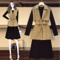 Women's large Autumn 2020 Khaki suit, black suit Large XL, large XXL, large XXXL, large XXXXL, large L, collect and buy free freight insurance Dress Two piece set commute easy moderate Cardigan Long sleeves Solid color Korean version Polo collar Medium length Polyester, others routine belt longuette