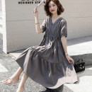 Dress Summer 2021 Grey, green, black, blue, champagne, pink, black long sleeves, grey long sleeves, caramel long sleeves, pink long sleeves M,L,XL,2XL,3XL Mid length dress singleton  Short sleeve commute V-neck High waist Solid color Socket Big swing routine Others Type A Other / other Korean version