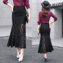 skirt Spring 2021 2XL,S,M,L,XL Pink, red, black, white longuette commute High waist Ruffle Skirt Solid color Type X 25-29 years old More than 95% Lace Yiyin cotton Zipper, open line decoration, lace Korean version 201g / m ^ 2 (including) - 250G / m ^ 2 (including)