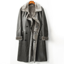 leather clothing Youth fashion M,L,XL,2XL,3XL,4XL have more cash than can be accounted for leather and fur tailored collar easy double-breasted winter leisure time youth Sheepskin and wool tide Straight hem Three dimensional bag Splicing No iron treatment Color block