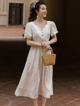 Dress Summer 2021 white S,M,L Mid length dress singleton  Short sleeve commute V-neck High waist Solid color zipper A-line skirt routine Type A Simplicity Button, lace up