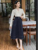 Fashion suit Spring 2021 S,M,L,XL Apricot shirt + skirt, black shirt + skirt