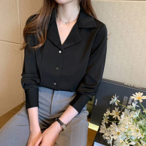 shirt White, black 2/S,3/M,4/L,5/XL Spring 2021 silk 96% and above Long sleeves commute Regular Polo collar Single row multi button routine Solid color Self cultivation Brother amashsin Ol style 1303306-752185-001 real silk