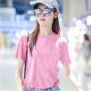 T-shirt Pink 2/S,3/M,4/L,5/XL Summer 2021 Short sleeve Crew neck easy Regular routine commute cotton 86% (inclusive) -95% (inclusive) Simplicity classic Solid color Brother amashsin