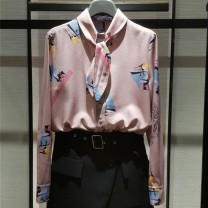shirt Pink 2/S,3/M,4/L,5/XL Spring 2021 polyester fiber 96% and above Long sleeves commute Regular stand collar Single row multi button routine Broken flowers Self cultivation Brother amashsin Retro Frenulum