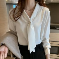 shirt white 2/S,3/M,4/L,5/XL Summer 2021 polyester fiber 81% (inclusive) - 90% (inclusive) Long sleeves Versatile Regular square neck Socket routine Solid color Straight cylinder Brother amashsin 1300048-251400-001 Button silk