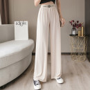 Casual pants Black, apricot, blue 1/XS,2/S,3/M,4/L,5/XL Summer 2021 trousers Wide leg pants High waist Versatile Thin money 96% and above 5100062-2028871-001 Brother amashsin polyester fiber