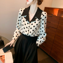 shirt white 2/S,3/M,4/L,5/XL Summer 2021 other 96% and above Long sleeves Versatile Regular Polo collar Single row multi button routine Dot Straight cylinder Brother amashsin printing Chiffon