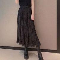 skirt Spring 2021 1/XS,2/S,3/M,4/L,5/XL black Mid length dress Versatile High waist A-line skirt Dot Type A 5200320-1S15711-001 More than 95% Brother amashsin polyester fiber printing
