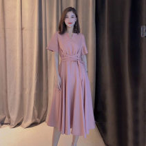 Dress Summer 2021 Pink, army green 2/S,3/M,4/L,5/XL Mid length dress singleton  Short sleeve commute Crew neck High waist Solid color Socket A-line skirt routine Others Type A Brother amashsin Retro Frenulum 5500325-2036539-001 More than 95% hemp
