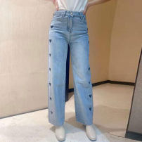 Jeans Spring 2021 wathet 1/XS,2/S,3/M,4/L,5/XL trousers High waist Wide legged trousers routine Wash, embroidery, multiple pockets light colour 5100333-329952-001 Brother amashsin 51% (inclusive) - 70% (inclusive)