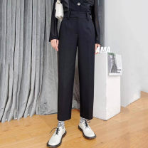 Casual pants black Spring 2021 Ninth pants Haren pants High waist Versatile routine 51% (inclusive) - 70% (inclusive) Brother amashsin pocket polyester fiber
