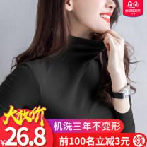 T-shirt S,M,L,XL,2XL,3XL Winter of 2019 Long sleeves Half high collar Self cultivation Regular routine commute cotton 96% and above Simplicity Xje / Xijian