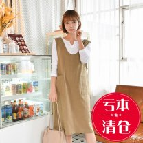 Dress Summer 2020 Camel 4XL,3XL,2XL,XL,L,M,S,XS longuette singleton  Sleeveless commute V-neck Loose waist Solid color Socket other other Others 25-29 years old Type H Liu mi Korean version pocket More than 95% other hemp