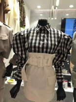 shirt Black and white check S,M,L,XL Spring 2021 other 31% (inclusive) - 50% (inclusive) Long sleeves commute Regular Polo collar Single row multi button puff sleeve lattice 18-24 years old Straight cylinder Korean version