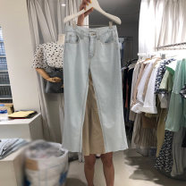 Jeans Spring 2021 wathet S,M,L,XL trousers High waist Straight pants routine 18-24 years old 31% (inclusive) - 50% (inclusive)