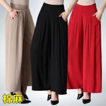 Casual pants Red, dark green, khaki, coffee, Navy, black, 7-point water wave XL,2XL,3XL,4XL Summer 2021 Ninth pants Wide leg pants High waist Versatile Thin money 40-49 years old 51% (inclusive) - 70% (inclusive) cotton pocket