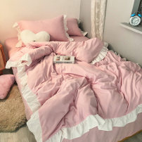 Bedding Set / four piece set / multi piece set Polyester (polyester fiber) other Solid color No pilling Mengzi Polyester (polyester fiber) 4 pieces No fading Qualified products Princess style other Reactive Print  other