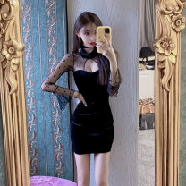 Dress Spring 2021 black S,M,L Short skirt singleton  Nine point sleeve commute other High waist Solid color zipper One pace skirt pagoda sleeve Hanging neck style 18-24 years old Retro Hollowed out, stitched, gauze net