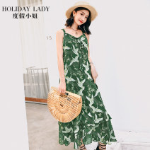 Dress Summer of 2018 Y thousand birds crane S longuette singleton  Sweet V-neck Loose waist Decor Socket Ruffle Skirt 25-29 years old Type A Holiday lady H7081#Q1561 More than 95% polyester fiber Polyester 100% Bohemia