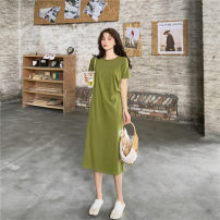 Dress Summer 2020 Green, black M,L,XL,2XL,3XL,4XL Mid length dress Short sleeve commute Crew neck Loose waist Solid color Socket A-line skirt routine Others 18-24 years old Type A Korean version fold other