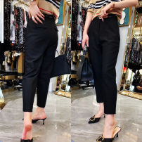 Casual pants Black, deep Khaki S,M,L,XL,2XL Spring 2021 Ninth pants Wide leg pants High waist commute routine 25-29 years old 96% and above polyester fiber Simplicity Three dimensional cutting polyester fiber Asymmetry