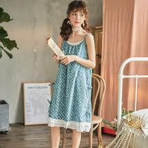 Nightdress Ji Yi Dark blue dot 160(M),165(L) sexy camisole pajamas Middle-skirt summer Dot youth Crew neck cotton lace More than 95% pure cotton WN269 240g