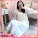 Nightdress Ji Yi White, light pink 160(M),165(L),170(XL) Sweet Long sleeves pajamas longuette autumn Plants and flowers youth Crew neck viscose  lace More than 95% Modal fabric JY291 200g and below
