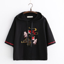 T-shirt White, black Average size Summer of 2019 elbow sleeve Hood Straight cylinder Regular other Sweet cotton 51% (inclusive) - 70% (inclusive) 18-24 years old youth Animal design Other / other RX embroidered two goldfish hooded t Embroidery solar system