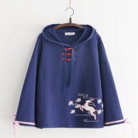 Sweater / sweater Autumn of 2019 White, blue Average size Long sleeves routine Socket singleton  routine Hood easy Sweet pagoda sleeve Cartoon animation 18-24 years old 51% (inclusive) - 70% (inclusive) cotton Bows, embroidery cotton solar system