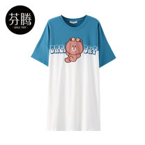 Nightdress Finthen  white 160/M 165/L 170/XL girl Middle sleeve Leisure home Middle-skirt summer Cartoon animation youth Crew neck cotton printing More than 95% pure cotton I98221568 200g and below Summer 2021 Cotton 100% Same model in shopping mall (sold online and offline) Cotton 100%