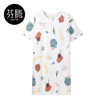 Nightdress Finthen  White / x98222683 Pink / x98222679 elegant white / x98222696 white / x98222272 155/S 160/M 165/L 170/XL 175/XXL Sweet Short sleeve Leisure home Middle-skirt summer Plants and flowers youth Crew neck cotton printing More than 95% pure cotton X98222683 200g and below Summer 2021