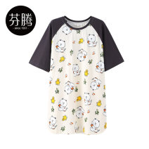 Nightdress Finthen  Apricot 160/M 165/L 170/XL Sweet Short sleeve Leisure home Middle-skirt summer Cartoon animation youth Crew neck cotton printing More than 95% pure cotton I98221515 200g and below Summer 2021 Cotton 100% Same model in shopping mall (sold online and offline) Cotton 100%