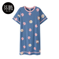 Nightdress Finthen  Blue pink white 160/M 165/L 170/XL girl Short sleeve Leisure home Middle-skirt summer Cartoon animation youth Crew neck cotton printing More than 95% pure cotton X98221863-1 200g and below Summer 2021 Cotton 100% Same model in shopping mall (sold online and offline) Cotton 100%