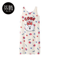 Nightdress Finthen  Apricot 155/S 160/M 165/L 170/XL 175/XXL 180/XXXL sexy camisole Leisure home Middle-skirt summer Cartoon animation youth Crew neck cotton printing More than 95% pure cotton I98221501 200g and below Summer 2021 Cotton 100% Same model in shopping mall (sold online and offline)