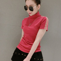 T-shirt Red, green, black, brown S 100 kg, m 100-110 kg, l 110-120 kg, XL 120-130 kg, 2XL 130-140 kg Spring 2021 Short sleeve High collar Self cultivation Regular routine street cotton 86% (inclusive) -95% (inclusive) 30-34 years old classic Solid color Dan Ruolin B001 Sticking cloth