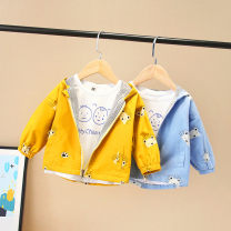 Windbreaker 80cm,90cm,100cm,110cm,120cm Other / other Female, male spring and autumn Korean version No detachable cap Zipper shirt Medium length Cotton 95% other 5% other Cotton blended fabric No belt other Class B Polyester 100%