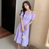 Dress Summer 2021 Purple, red, black S,M,L,XL Mid length dress singleton  Short sleeve Sweet One word collar Elastic waist Solid color Socket Big swing Princess sleeve Others 18-24 years old Type A
