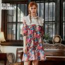 Dress Summer 2021 Blue flower S M L XL Mid length dress singleton  elbow sleeve street middle-waisted Cartoon animation Socket routine 25-29 years old T-type MIKIBANA printing D12OD9019 More than 95% polyester fiber Polyester 100% Same model in shopping mall (sold online and offline)