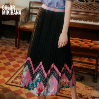 skirt Spring 2020 S M L XL black Mid length dress street Natural waist skirt Type A 25-29 years old M02BK1125 More than 95% MIKIBANA polyester fiber printing Polyester 100% Same model in shopping mall (sold online and offline) Europe and America