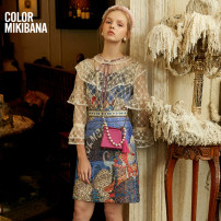 Dress Autumn 2020 Pink flowers S M L XL Mid length dress singleton  Nine point sleeve street Crew neck middle-waisted Abstract pattern zipper A-line skirt routine Others 25-29 years old Type A MIKIBANA Bow and ruffle lace up lace print M03OD2740 51% (inclusive) - 70% (inclusive) acrylic fibres